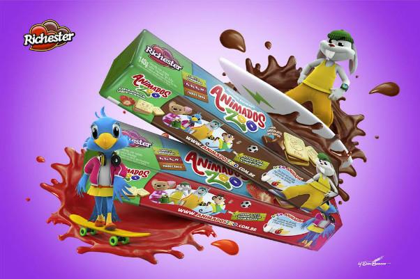 Richester lança mais um produto Animados Zoo: biscoito recheado quadrado